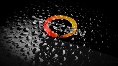 AMD wallpaper featuring water droplets and Ryzen logo in 4k resolution