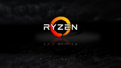 AMD 4K wallpaper of Ryzen logo on black back drop with dark clouds and reflection