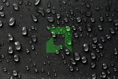 High def wallpaper of wet leather with green AMD logo.