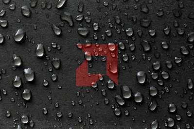 High def wallpaper of wet leather with a red AMD logo.