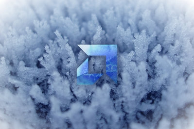 High definition desktop background of AMD logo on ice