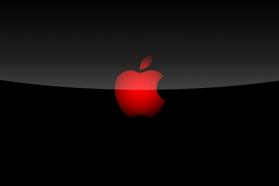 High def wallpaper of Apple logo on black background.