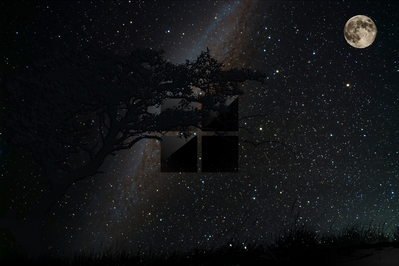 High def wallpaper of beautiful night sky with Microsoft's new 2012 logo.