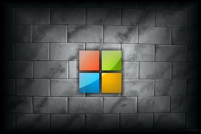 High def desktop background featuring white tile and Microsoft's new 2012 logo in glass.