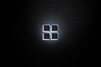 High Def desktop background of chrome Microsoft new 2012 logo on metal grate.