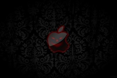 High def wallpaper of Apple logo on medieval background.